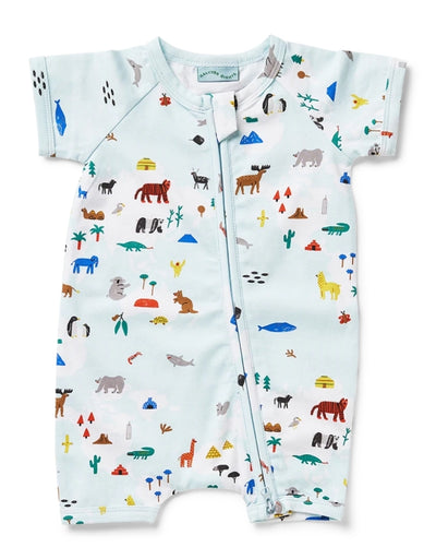 Halcyon Nights - World Map Short Sleeve Zip Suit - Say It Sister