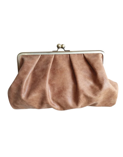 Moy - Camel Pleated Leather Clutch, bag, Moy - Say It Sister