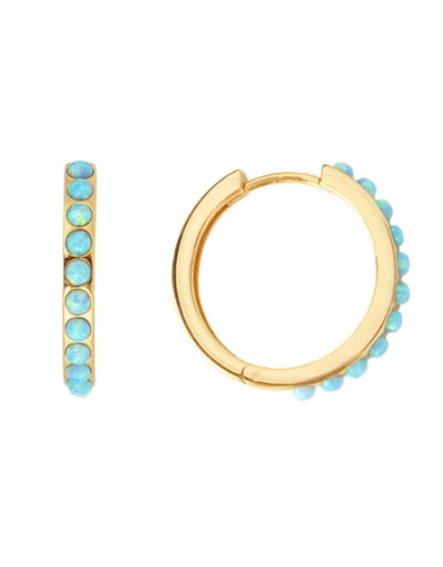 Fairley - Blue Opal Crystal Maxi Hoops - Say It Sister