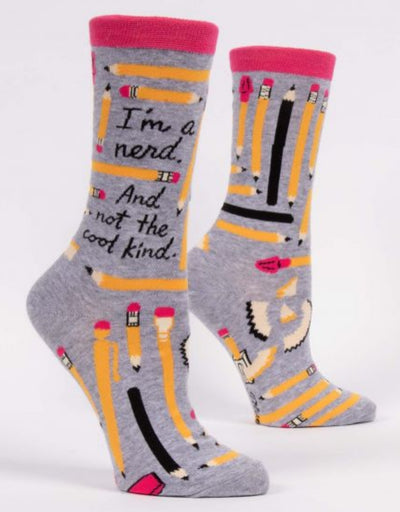 Blue Q - I'm A Nerd. And Not The Cool Kind. W-Crew Socks, socks, Blue Q - Say It Sister