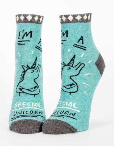 Blue Q - I'm A Special Unicorn W-Ankle Socks, socks, Blue Q - Say It Sister