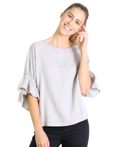 Olga de Polga - Seki Blouse Powder Grey, Top, Olga de Polga - Say It Sister