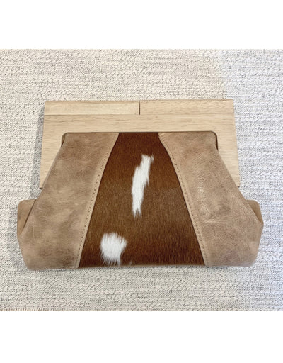Moy Tasmania - Timber and Leather Hide Clutch - Say It Sister