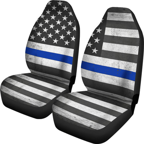 Thin Blue Line Car Seat Covers USA Flag