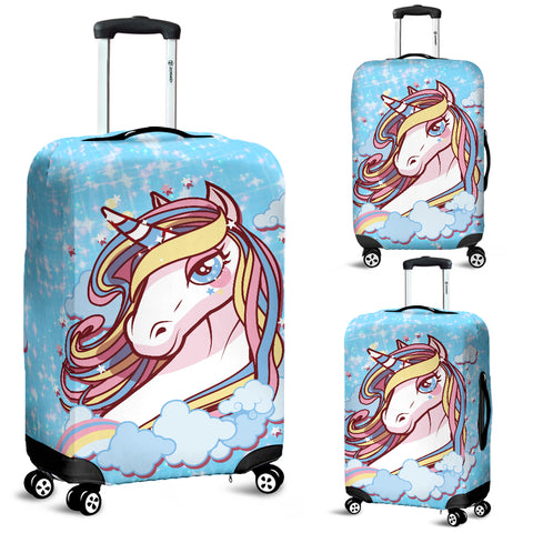Unicorn Blue Protective Luggage Cover