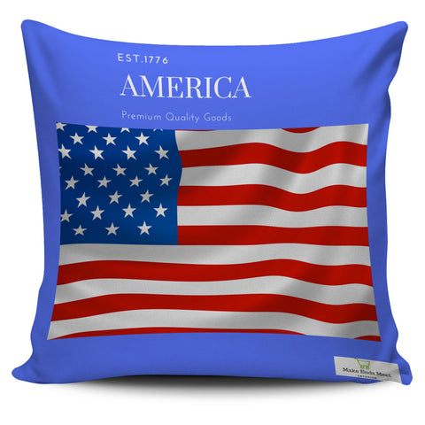 Blue America Flag Pillow Cover