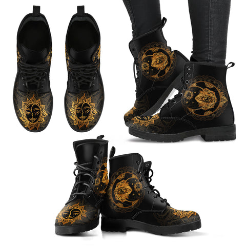 Gold Sun and Moon Women's Leather Boots