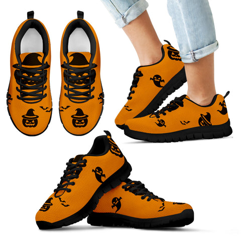 Kid's Sneakers Pumpkin Halloween (Black Soles)