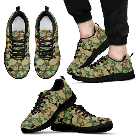 Camouflage Skulls Shoes Custom Printed Sneakers (Mens)