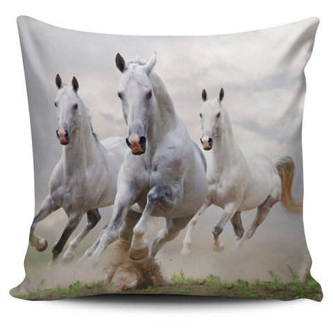 White Horses Running Pillow Cover