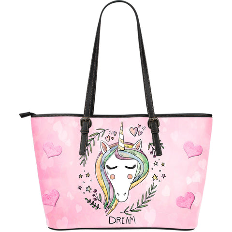Unicorn Dreaming Leather Large Tote Shoulder Bag