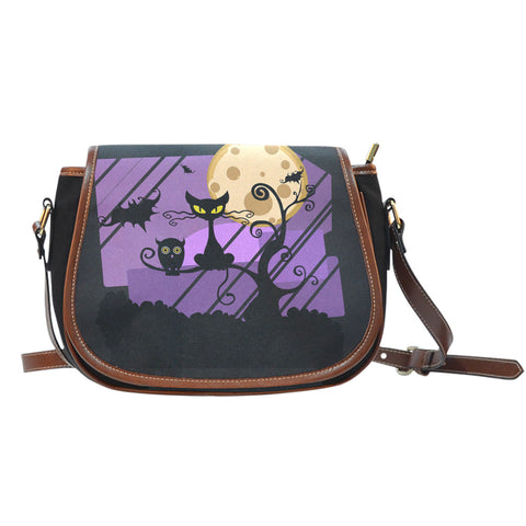 Halloween Cat Saddle Shoulder Handbag