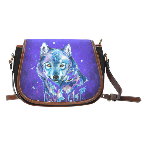 Wolf Splash Leather Trim Cross Body Bag