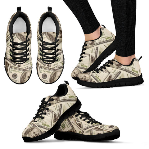 Love of Money Shoes Womens Custom Printed Sneakers (black)