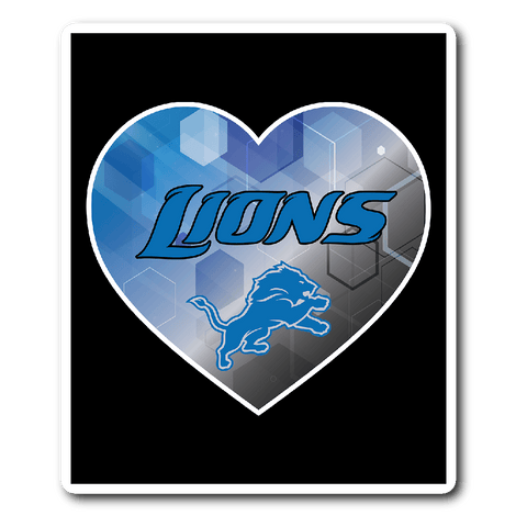 Detroit Lions Patterned Heart Vinyl Sticker (Free Shipping)