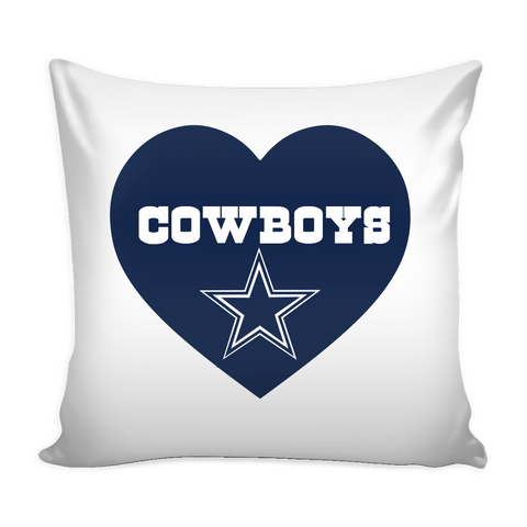 Dallas Cowboys Simple Heart Pillow Cover (Free Shipping)