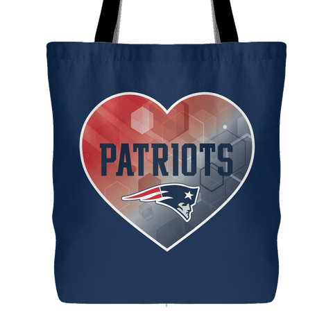 New England Patriots Patterned Heart Tote Bag (Free Shipping)