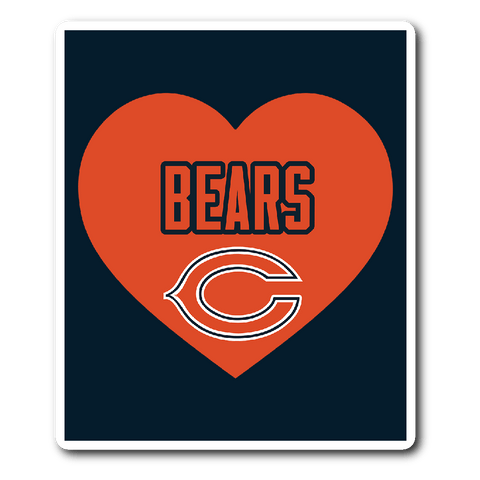 Chicago Bears Simple Heart Vinyl Sticker (Free Shipping)