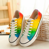 Multi Color Design Low Top Canvas Shoes Custom Painted Sneakers