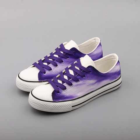 Magenta Purple Low Top Canvas Shoes Custom Painted Sneakers