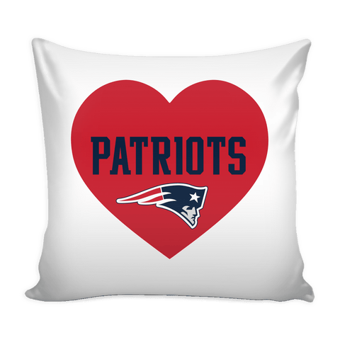 New England Patriots Simple Heart Pillow Cover (Free Shipping)