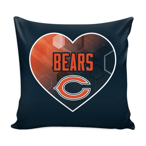 Chicago Bears Patterned Heart Pillow Cover (Free Shipping)