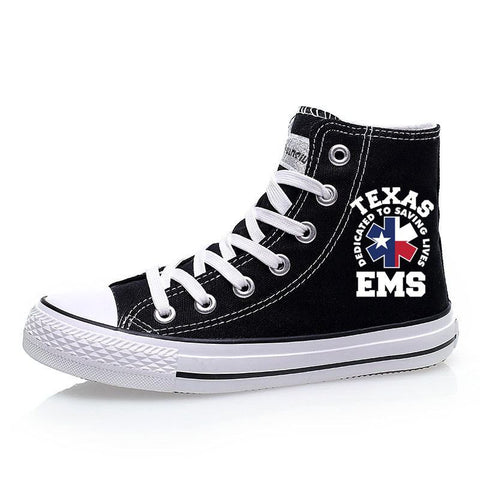 Custom Printed High Top Canvas Shoes - Texas EMS
