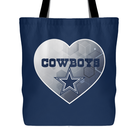 Dallas Cowboys Patterned Heart Tote Bag (Free Shipping)