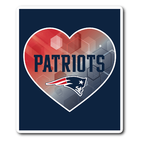 New England Patriots Patterned Heart Vinyl Sticker (Free Shipping)