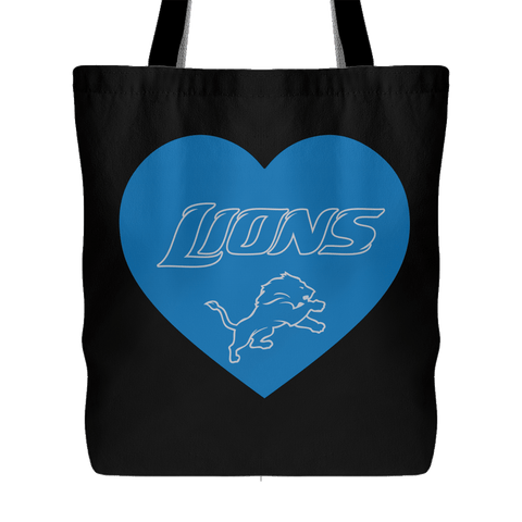 Detroit Lions Simple Heart Tote Bag (Free Shipping)