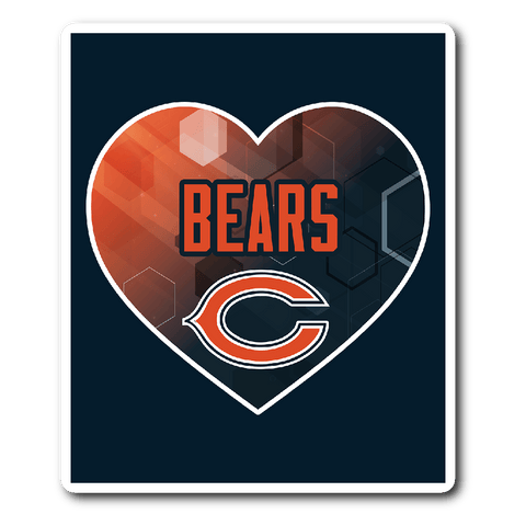 Chicago Bears  Patterned Heart Vinyl Sticker (Free Shipping)