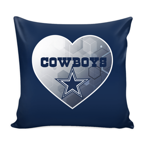 Dallas Cowboys Patterned Heart Pillow Cover (Free Shipping)