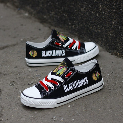 Custom Printed Low Top Canvas Shoes - Blackhawks Strong
