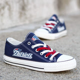 Custom Printed Low Top Canvas Shoes - New England Patriots