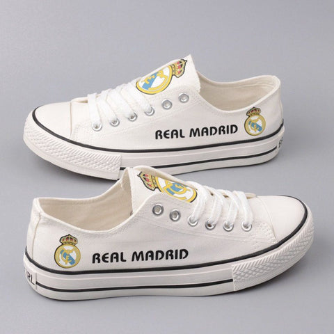 Custom Printed Low Top Canvas Shoes - Real Madrid - $40 Clearance