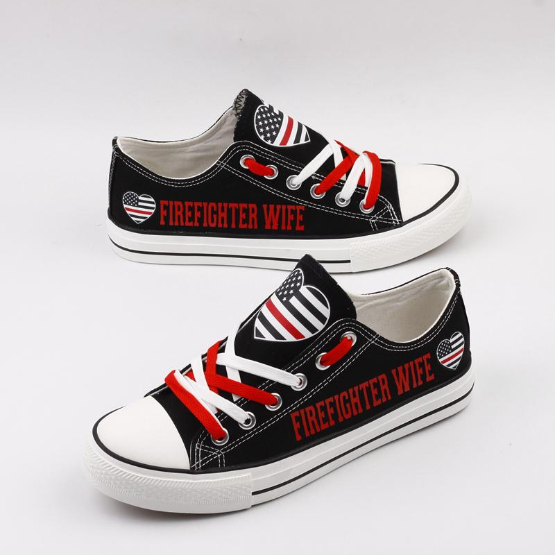 9126782d2603 Firefighter Wife Shoes Low Top Canvas Custom Printed Sneakers – Da Shirt Guy