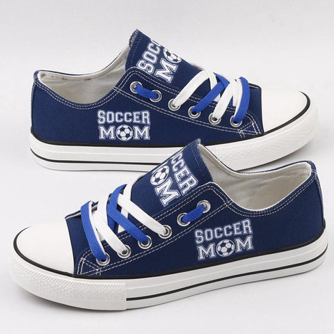 Soccer Mom Shoes Low Top Canvas Custom Printed Sneakers (blue)