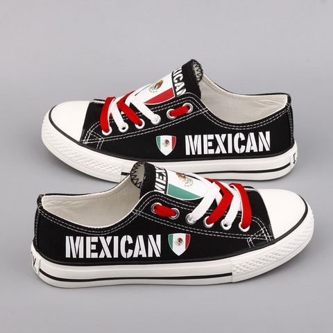 Custom Printed Low Top Canvas Shoes - Mexican Pride