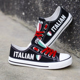 Custom Printed Low Top Canvas Shoes - Italian Pride