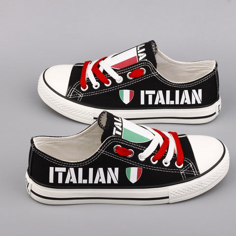 Italian Flag Pride Shoes Low Top Canvas Custom Printed Sneakers