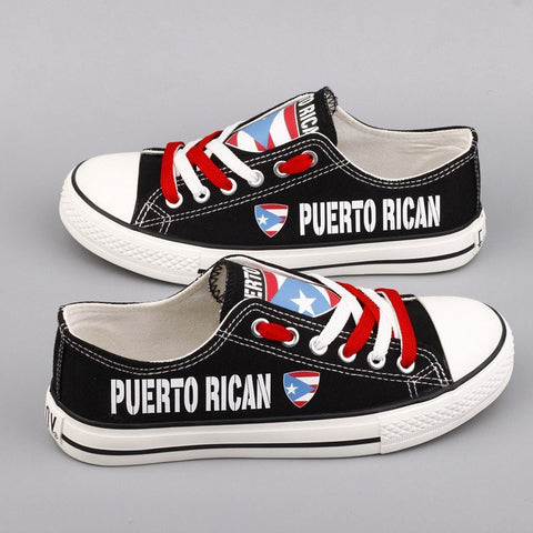 Custom Printed Low Top Canvas Shoes - Puerto Rican Pride - $40 Clearance