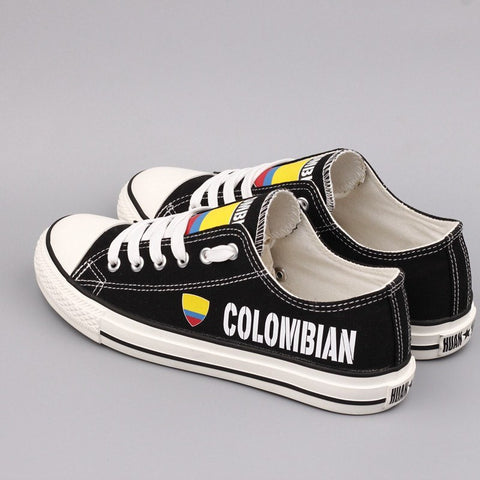 Custom Printed Low Top Canvas Shoes - Colombian Proud - $40 Clearance