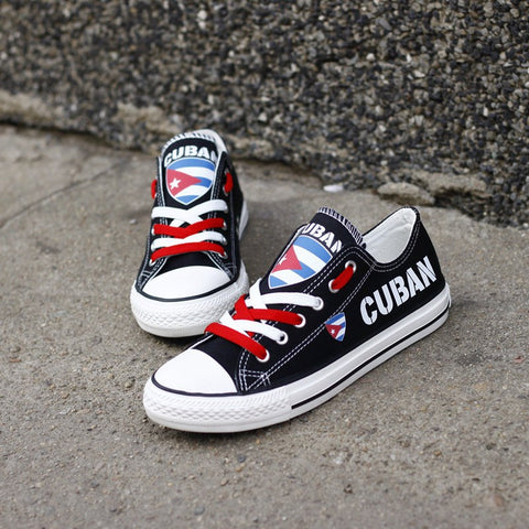 Cuban Proud Shoes Low Top Canvas Custom Printed Sneaker