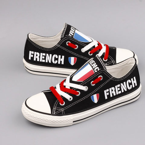 French Proud Shoes Low Top Canvas Custom Printed Sneakers