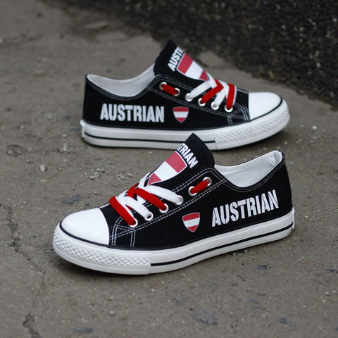 Austrian Flag Pride Shoes Low Top Canvas Custom Printed Sneakers