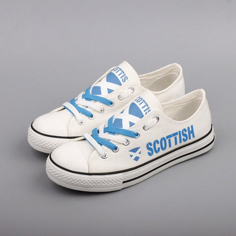 Custom Printed Low Top Canvas Shoes - Scottish Proud - $40 Clearance