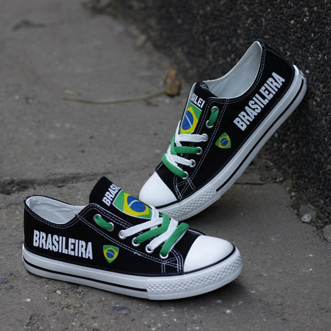 Brasileira Flag Pride Shoes Low Top Canvas Custom Printed Sneakers