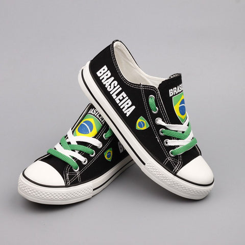 e41062ef73 ... Brasileira Flag Pride Shoes Low Top Canvas Custom Printed Sneakers ...
