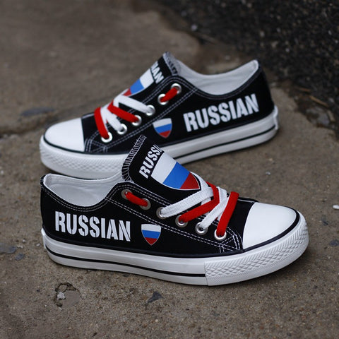 Russian Flag Pride Shoes Low Top Canvas Custom Printed Sneakers