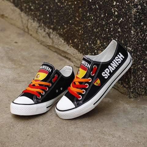 Spanish Flag Pride Shoes Low Top Canvas Custom Printed Sneakers